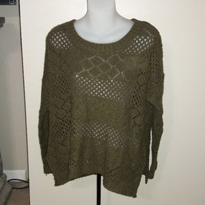 Womens sz L Forever 21 olive green knitted sweater